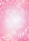 Fond de rose de flocon de neige et de frontière de coeurs Images stock