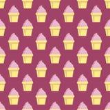 Fond de rose de modèle de vecteur de petit gâteau Image libre de droits