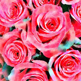 Fond de roses rouges d'aquarelle Images stock