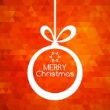 Fond de rouge d'abrégé sur carte de boule de Joyeux Noël Photo stock