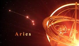Fond de rouge d'Aries And Armillary Sphere Over de constellation de zodiaque Photographie stock libre de droits