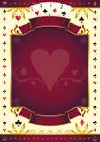 Fond de rouge de coeur de Pokergame Photo libre de droits