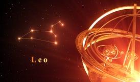 Fond de rouge de Leo And Armillary Sphere Over de constellation de zodiaque Photo libre de droits