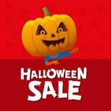 Fond de rouge de vente de Halloween Homme avec une tête de potiron Photo libre de droits