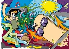 Fond 02 de rouleau de patin de graffiti Photo stock