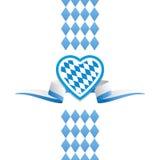 Fond de ruban de drapeau de la Bavière de coeur d'Oktoberfest Photographie stock