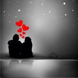 Fond de Saint-Valentin avec la silhouette des couples affichant le lo illustration stock