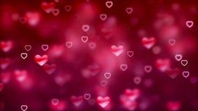 Fond de Saint-Valentin, coeurs abstraits volants et particules illustration stock