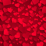 Fond de Saint-Valentin, coeurs de papier rouges sur le fond rouge Images stock