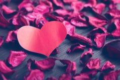 Fond de Saint-Valentin. pétales des roses rouges dans la forme o Images stock
