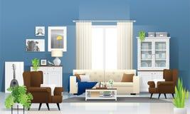 Fond de salon avec les meubles en bois, les usines et le mur bleu dans le style rustique moderne illustration libre de droits