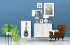 Fond de salon avec les meubles en bois, les usines et le mur bleu dans le style rustique moderne 4 illustration stock