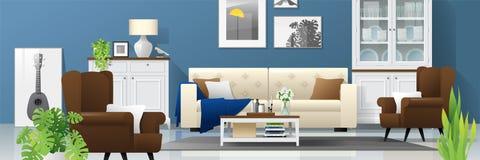Fond de salon avec les meubles en bois, les usines et le mur bleu dans le style rustique moderne 3 illustration de vecteur