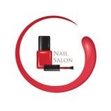 Fond de salon de beauté de clou Signe de bouteille de vernis à ongles de manucure illustration libre de droits