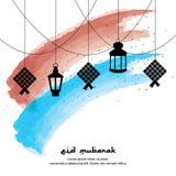 Fond de salutation d'Eid Mubarak avec la nourriture et les lanternes de KetupatIndonesian photos stock