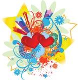 Fond de sauter-art de Valentine avec des coeurs illustration libre de droits