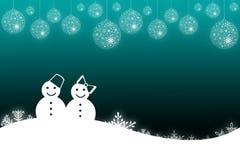 Fond de scène de l'hiver avec le bonhomme de neige Photos libres de droits