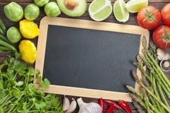 Fond de signe de légumes de tableau de tableau noir Image libre de droits