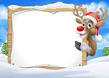 Fond de signe de Santa Hat Reindeer Christmas Scene Images libres de droits