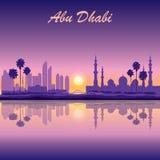 Fond de silhouette d'horizon d'Abu Dhabi avec une mosquée grande Image stock