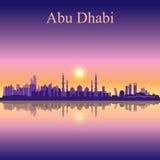 Fond de silhouette d'horizon d'Abu Dhabi avec une mosquée grande Photo libre de droits