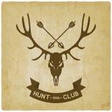 Fond de silhouette de crâne de cerfs communs vieux Conception de club de chasse Photo libre de droits