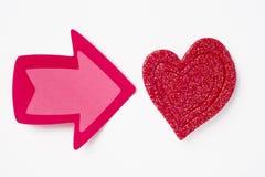 Fond de soins de santé avec le signal de coeur et de flèche valentine Photo libre de droits