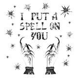 Fond de sorcière de femmes avec les étoiles, mains de sorcière avec de longs clous Décoration de nuit de Halloween pour la carte, illustration stock