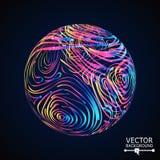 Fond de sphère avec les rayures tourbillonnées Composition rougeoyante en vecteur illustration stock