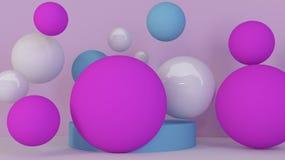 Fond de sphères Papier peint abstrait Formes géométriques volantes Illustration moderne à la mode rendu 3d Image stock