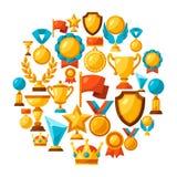 Fond de sport ou d'affaires avec des icônes de récompense Image stock