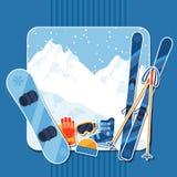 Fond de sports d'hiver avec l'autocollant d'équipement illustration stock