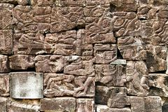 Fond de statue de bas-relief de culture de Khmer dans Angkor Vat, came photo libre de droits