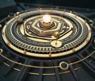 Fond de Steampunk d'astrolabe de modèle de système solaire de dieselpunk d'imagination d'illustration La qualité 3D rendent illustration libre de droits