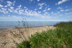 Fond de Sunny Scenic Michigan Summer Beach Image stock