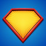 Fond de super héros Calibre de logo de super héros Cadre rouge et jaune avec les rayons divergents sur le contexte bleu Illustrat Photographie stock libre de droits