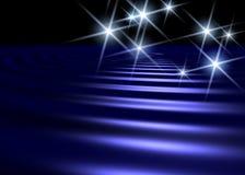 Fond de surface de l'eau bleue avec le shap blanc d'étoile Images libres de droits