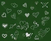 Fond de symbole de penchant Ensemble d'amour Jour de romance de griffonnage illustration de vecteur