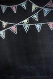 Fond de tableau avec des drapeaux d'étamine de dessin Photo stock
