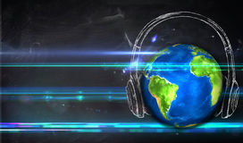Fond de tableau noir d'Universal Music Photographie stock libre de droits