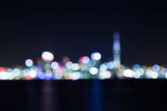 Fond de tache floue d'abrégé sur paysage urbain de nuit Photographie stock libre de droits