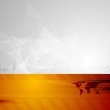 Fond de technologie avec la basse carte poly et du monde Photo stock