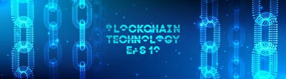 Fond de technologie de Blockchain Réseau de chaîne de bloc de fintech de Cryptocurrency et concept de programmation Segwit abstra illustration libre de droits