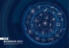 Fond de technologie de la science abstraite Digital relient le système aux cercles intégrés, ligne mince rougeoyante icônes Image stock