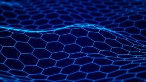 Fond de technologie de donn?es Fond d'hexagone abr?gez le fond Points et lignes se reliants sur le fond fonc? illustration de vecteur