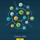 Fond de technologie de la science abstraite Digital relient le système aux cercles intégrés, ligne mince plate icônes Vecteur Illustration Libre de Droits