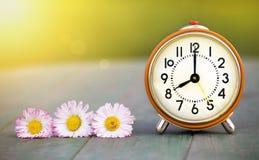 Fond de temps de vacances d'été - fleur et réveil Images stock