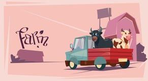 Fond de terres cultivables de Breeding Animals Cow d'agriculteur illustration de vecteur