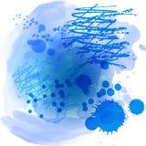 Fond de texture d'?claboussure d'aquarelle de vecteur d'isolement Goutte tir?e par la main, tache Effets d'aquarelle Le bleu colo illustration libre de droits