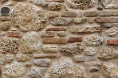 Fond de texture de mur de roche et de marbre taches et briques Photo stock